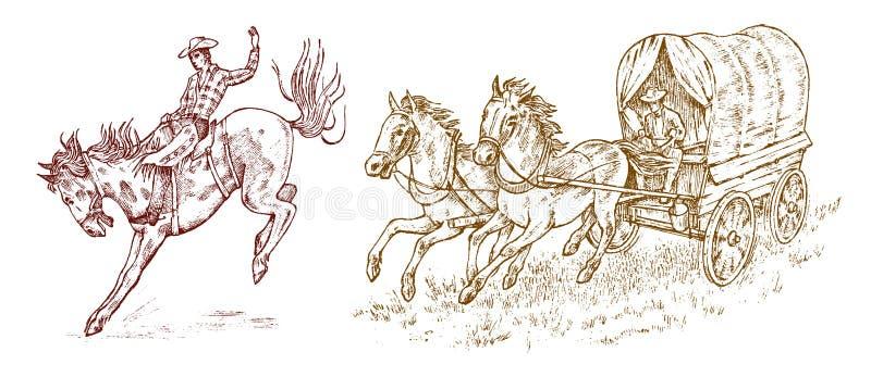 Vaqueiros no transporte Chicote de fios do cavalo do vintage ou carro do xerife s Ícone ocidental do rodeio, Texas Ranger, xerife ilustração stock