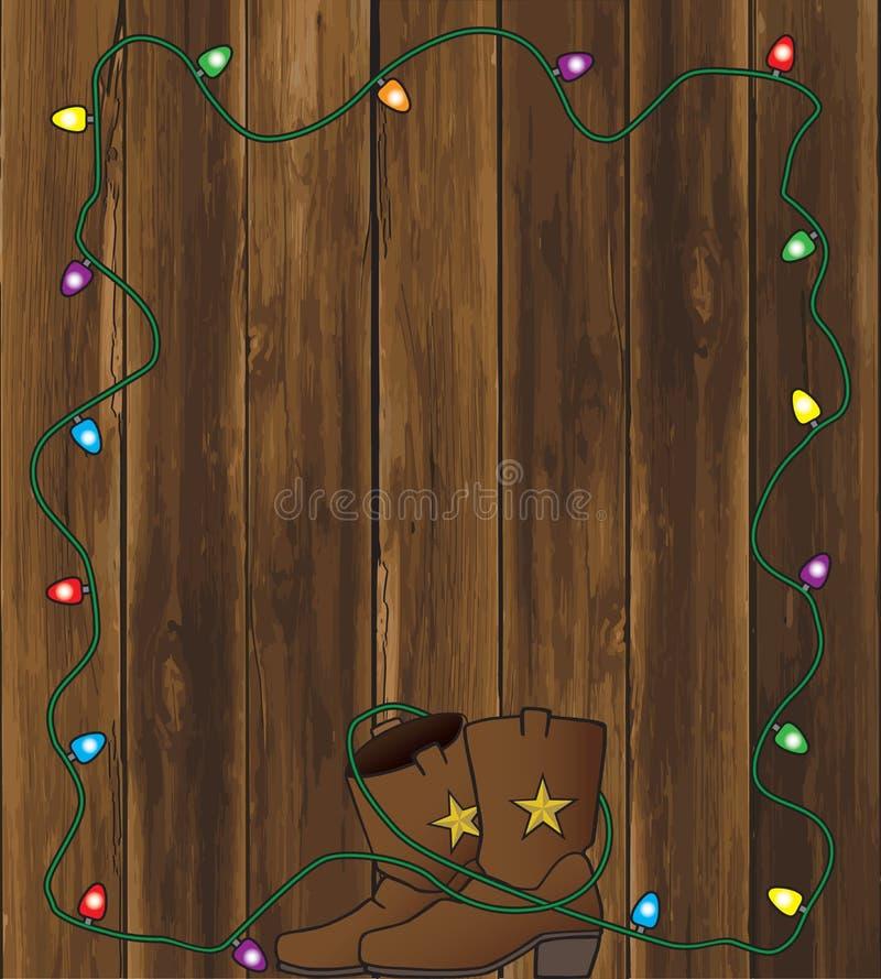 Vaquero Boots con las luces de la Navidad stock de ilustración