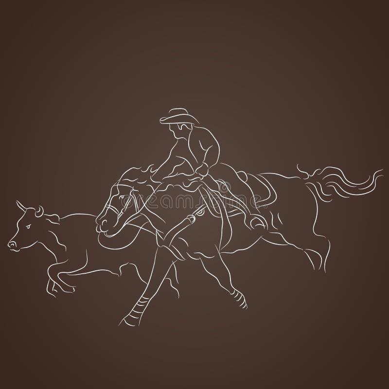 Vaquero Catching Cattle stock de ilustración