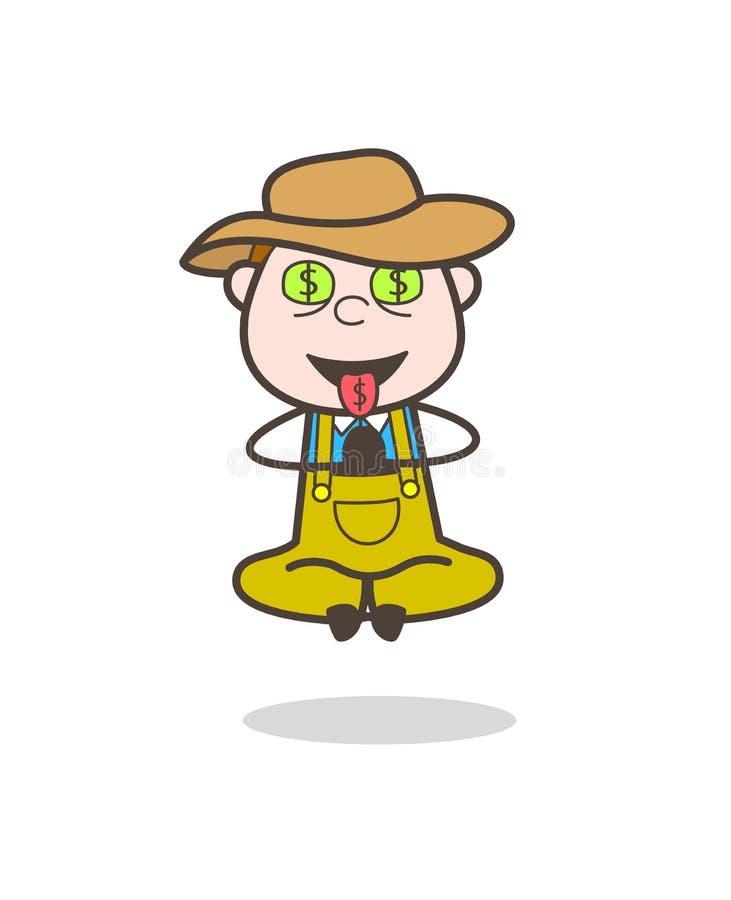 Vaquero codicioso de la historieta con vector de la cara de la Dinero-boca libre illustration