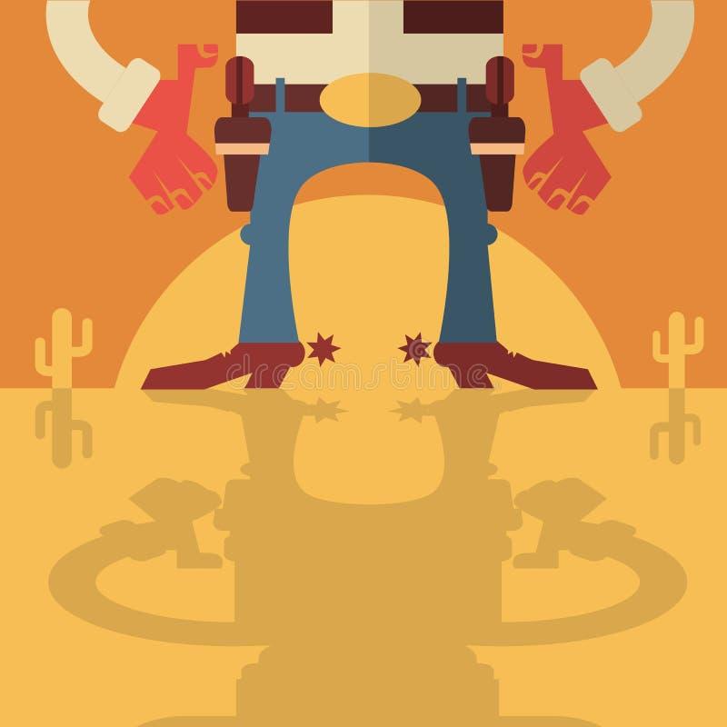 Vaquero con el fondo de los armas ilustración del vector