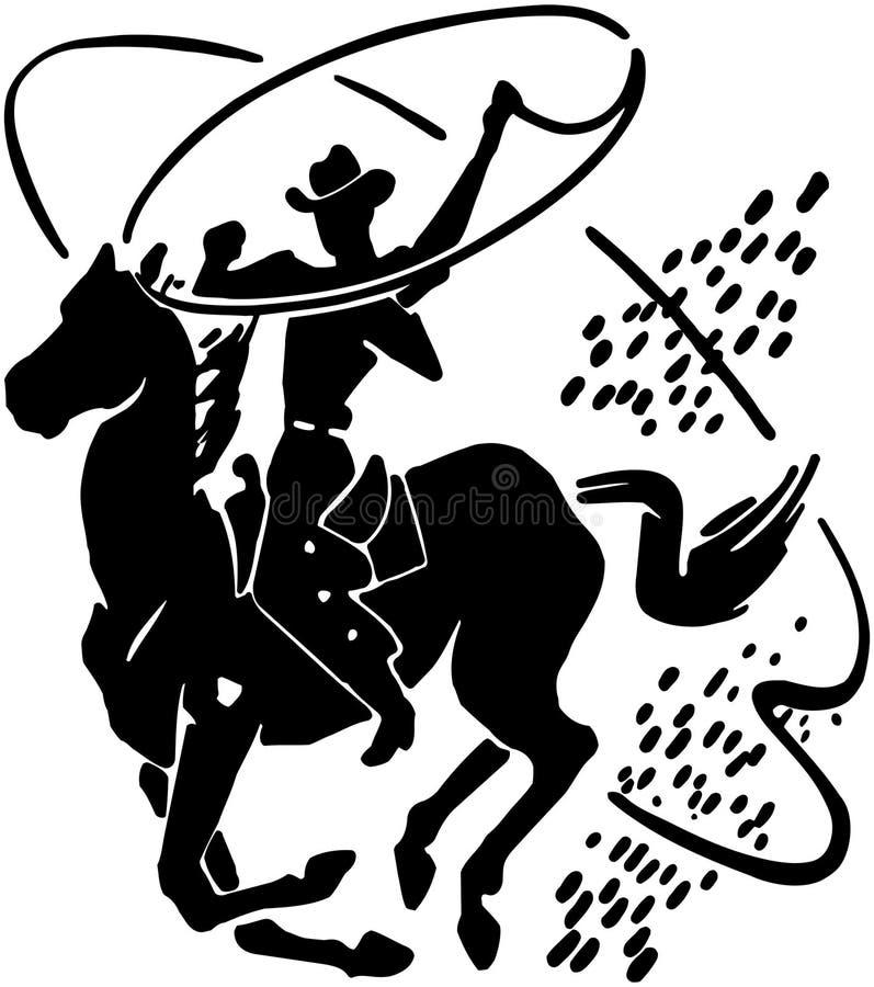 Vaquero con el lazo stock de ilustración