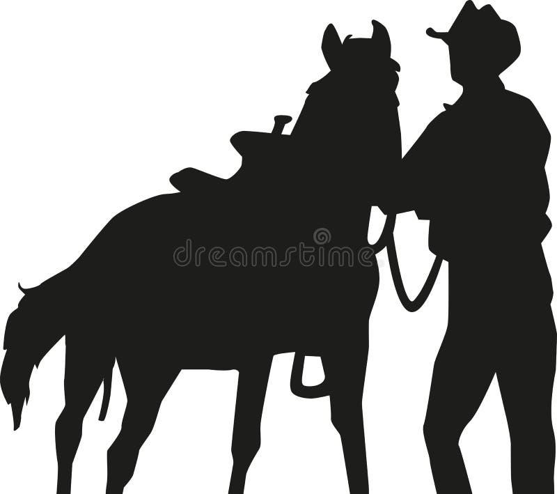 Vaquero con la silueta del caballo stock de ilustración