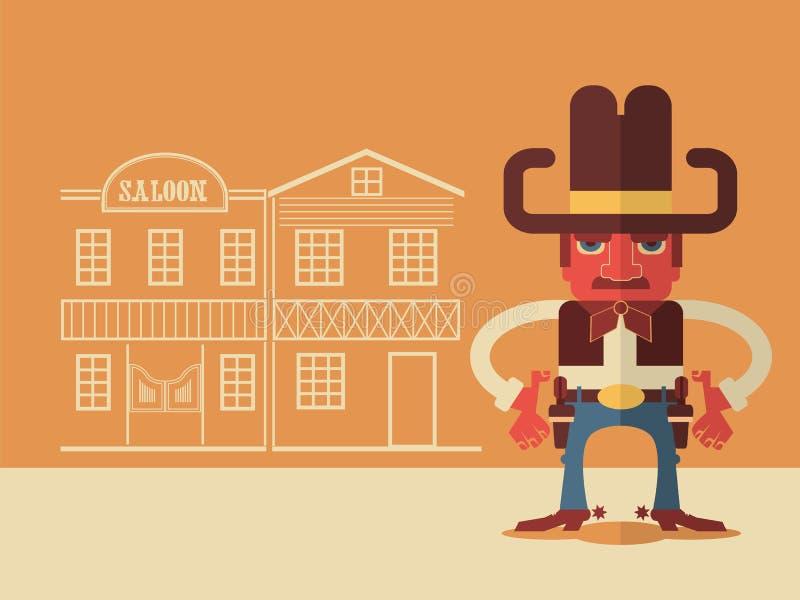 Vaquero con los armas ilustración del vector