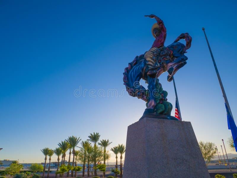 Vaquero. The cowboy. A sculpture by Luis Jimenez in Las Vegas. Blue summer sky. Vacation time. Vaquero. The cowboy. A sculpture by Luis Jimenez at Las Vegas stock photography