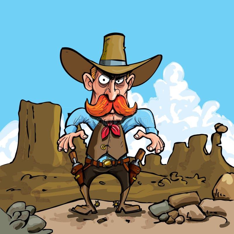 Vaquero de la historieta con los sixguns ilustración del vector