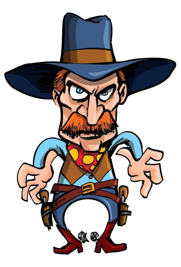 Vaquero de la historieta listo para drenar sus armas libre illustration