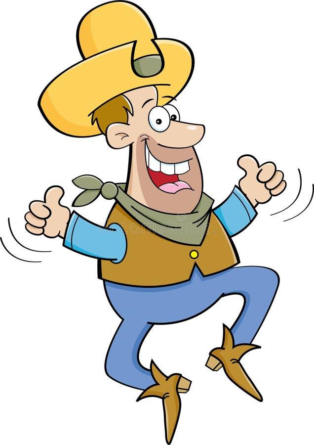 Vaquero de la historieta que salta con dos pulgares para arriba libre illustration
