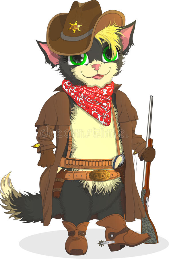 Vaquero del gato Sheriff Wild West stock de ilustración