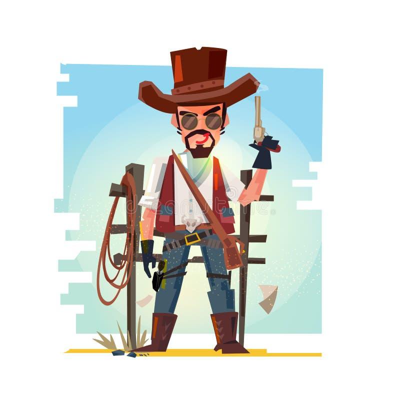 Vaquero elegante que sostiene su arma Diseño de carácter stock de ilustración