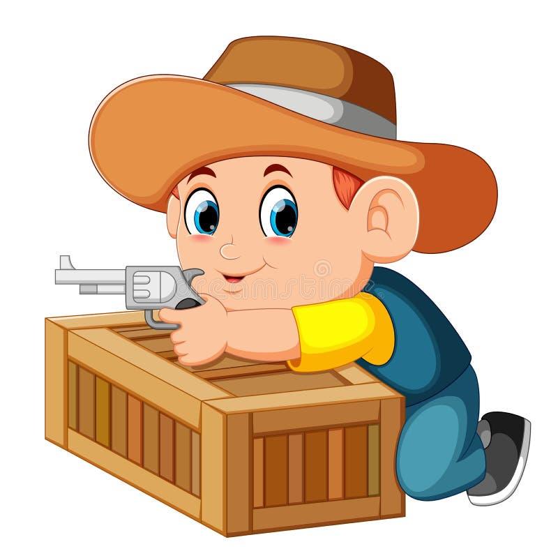 Vaquero elegante que sostiene su arma y detrás de la caja libre illustration
