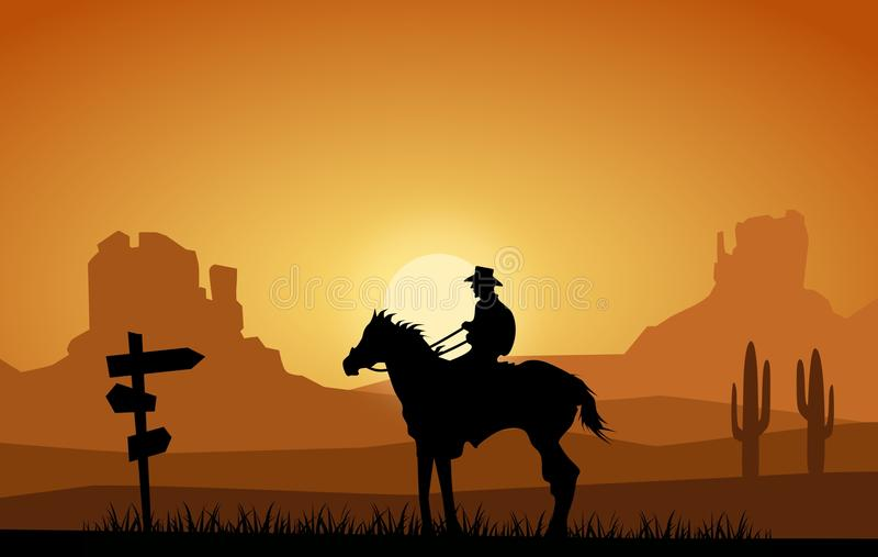 Vaquero en el oeste lejano ilustración del vector