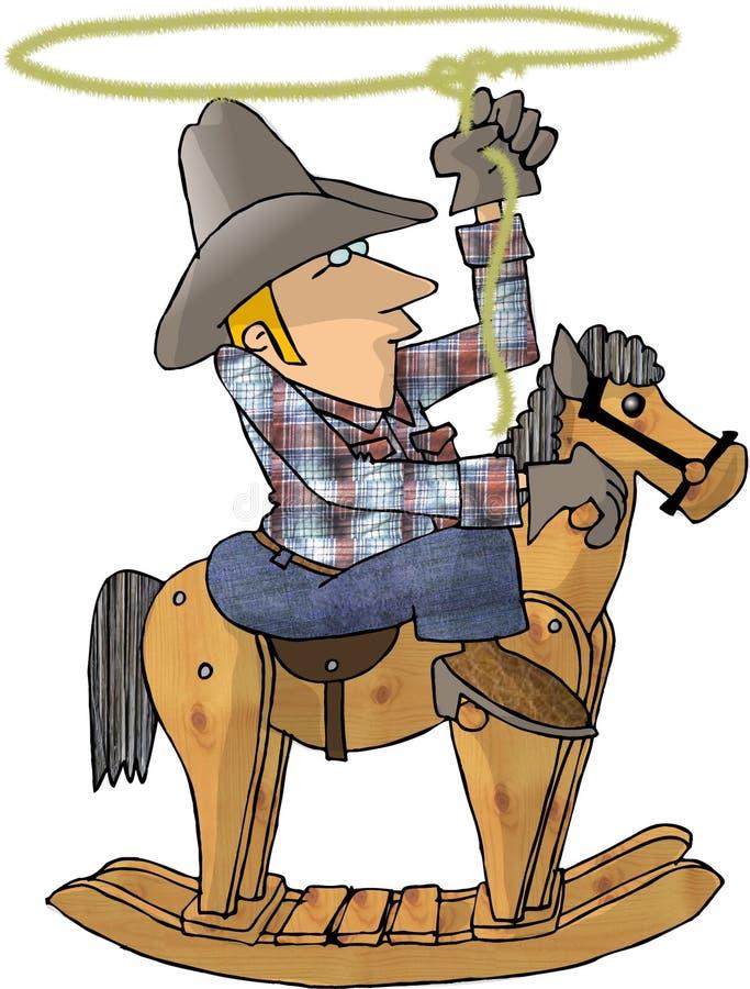 Vaquero en un caballo de oscilación ilustración del vector