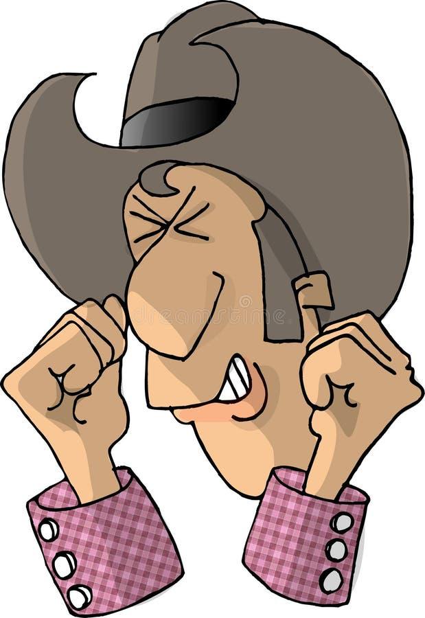 Vaquero enojado stock de ilustración