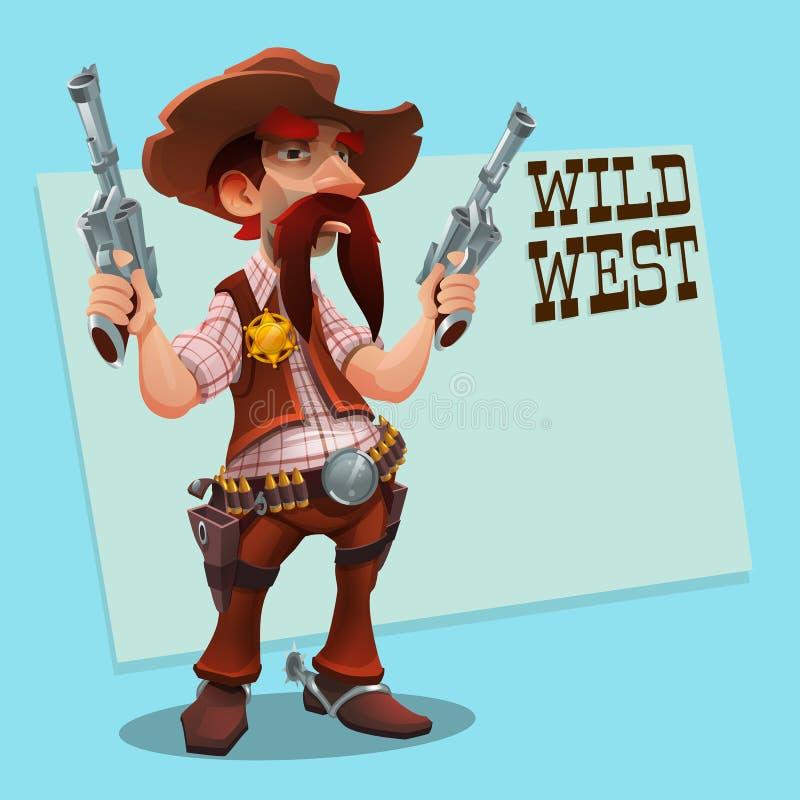 Vaquero fresco del sheriff con el revólver Diseño de carácter - oeste salvaje libre illustration
