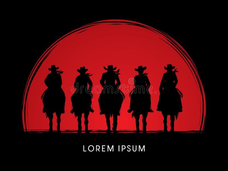 Vaquero Gangs en caballo stock de ilustración
