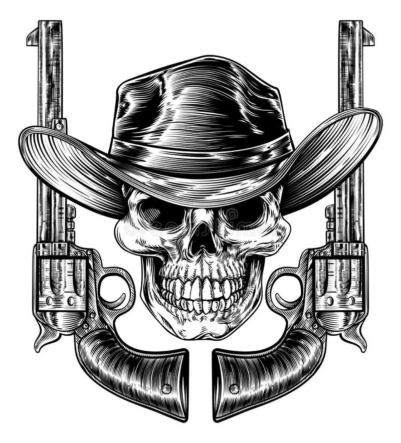 Vaquero Hat Skull y pistolas stock de ilustración