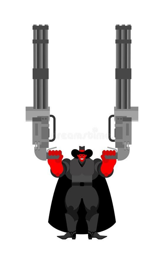 Vaquero malvado y Minigun del diablo Gunfighter del oeste salvaje del demonio Demonio occidental enojado stock de ilustración