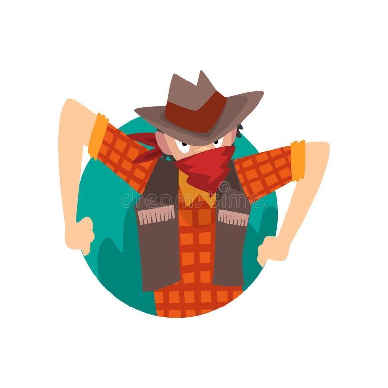 Vaquero Man Climbing Out del ejemplo triangular del vector de la historieta de la forma libre illustration