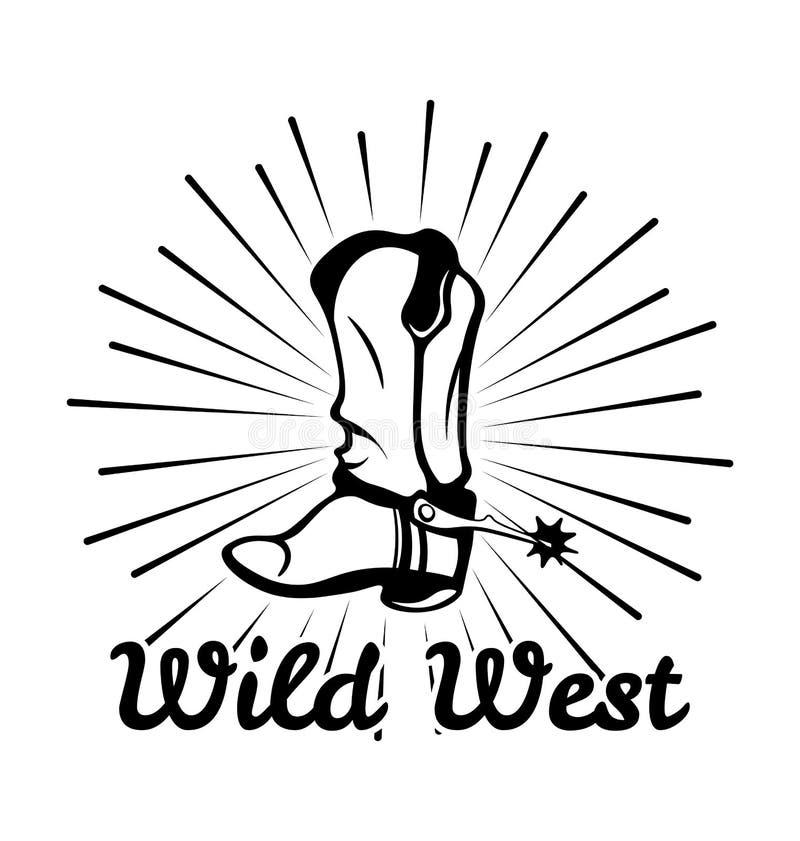 Vaquero occidental Boot del vintage Etiqueta del oeste salvaje Vector ilustración del vector