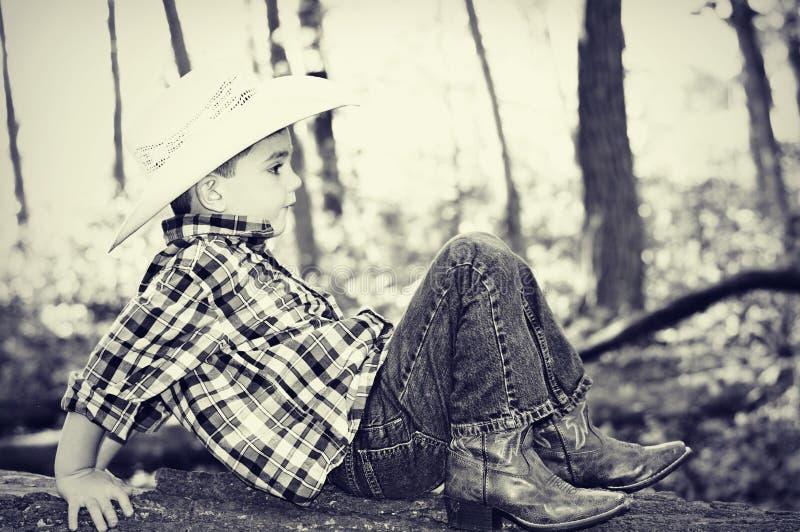 Vaquero Playing en tronco de árbol imagenes de archivo