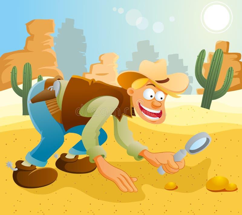 Vaquero que encuentra el oro stock de ilustración