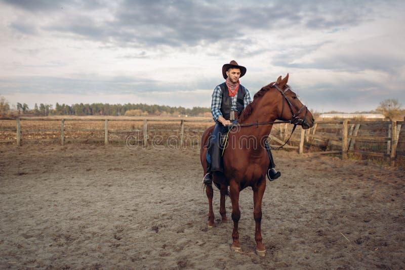 Vaquero que monta un caballo en un rancho, occidental foto de archivo libre de regalías