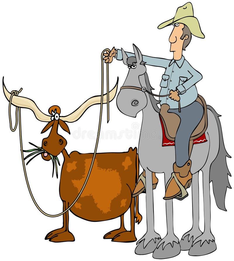 Vaquero roping un fonolocalizador de bocinas grandes de Tejas stock de ilustración