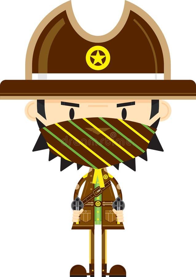 Vaquero Sheriff de la historieta con los armas ilustración del vector