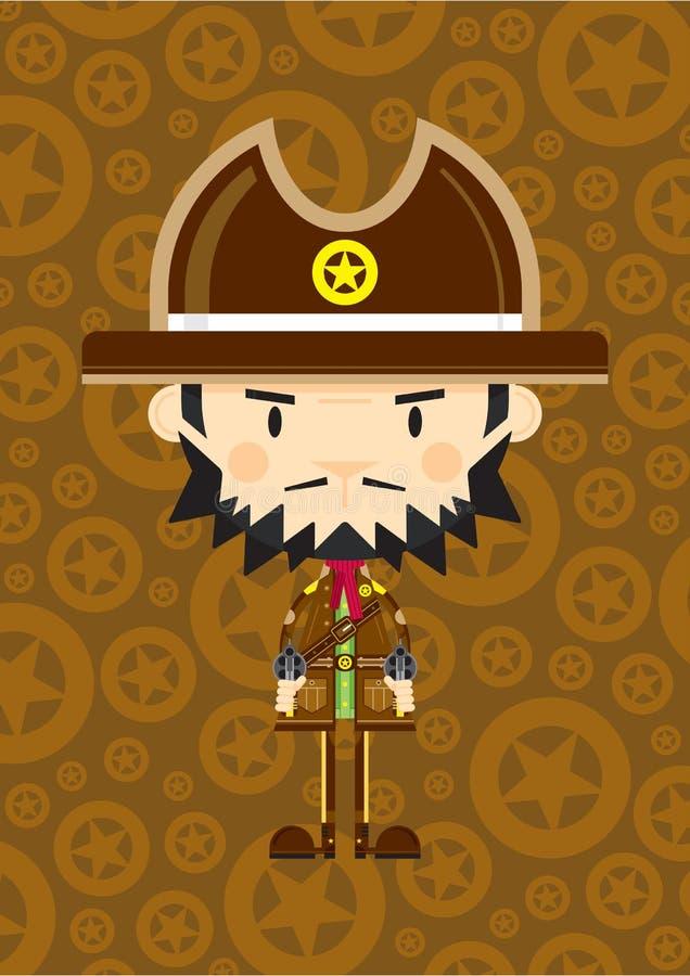 Vaquero Sheriff de la historieta con los armas stock de ilustración