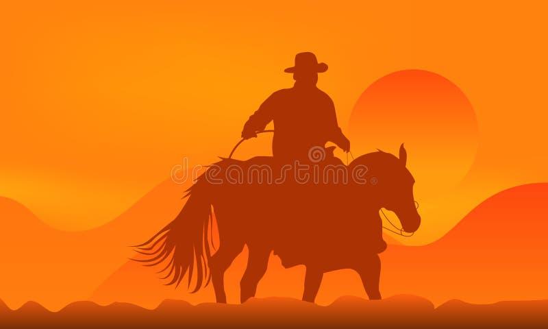 Vaquero sobre puesta del sol stock de ilustración