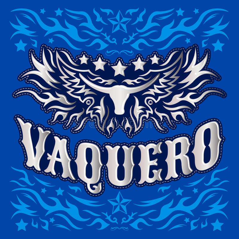 Vaquero - Spaanse vertaling: Cowboy, de affiche van de Rodeocowboy stock illustratie
