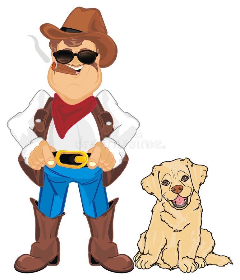 Vaquero y su perro stock de ilustración