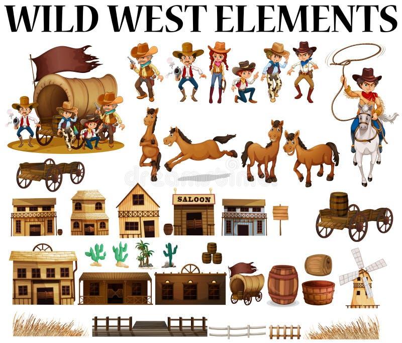 Vaqueros y edificios del oeste salvajes libre illustration