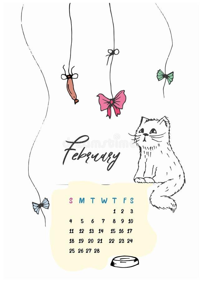 A vaquinha da garatuja está sentando o calendário para o mês de fevereiro de 2018 fotografia de stock royalty free