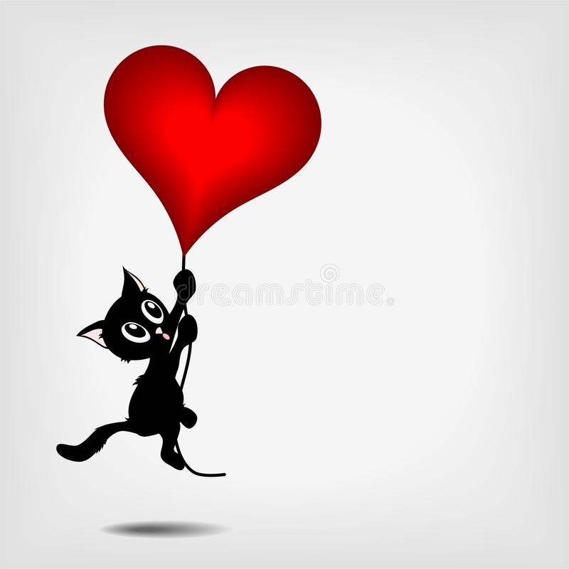 Vaquinha preta que prende o coração vermelho grande ilustração stock