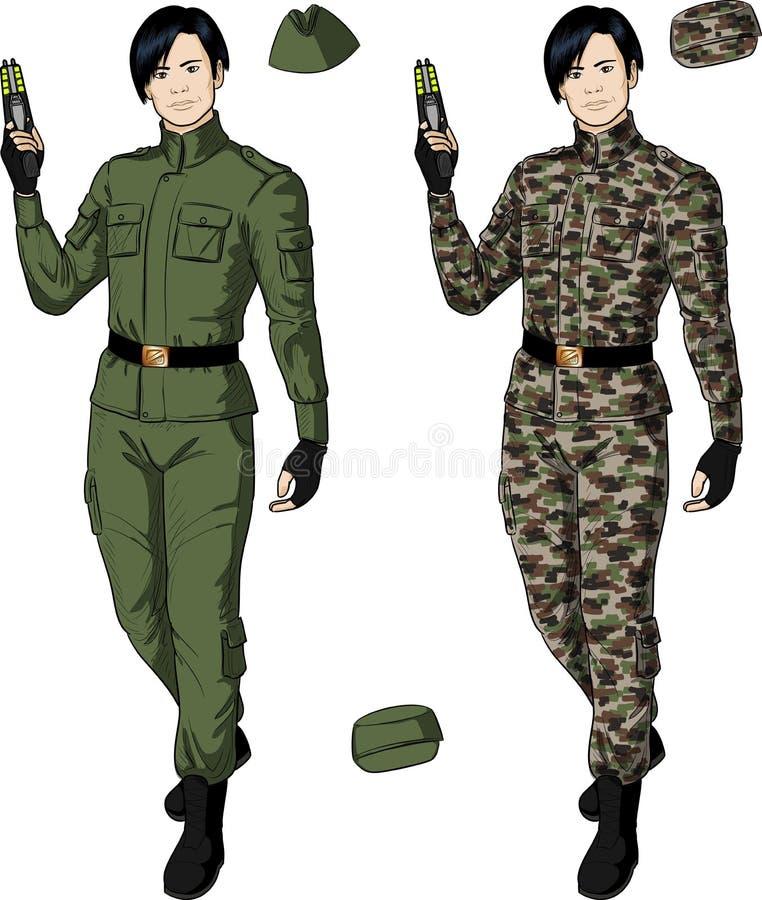 Varón asiático en taser de color caqui verde de los controles stock de ilustración