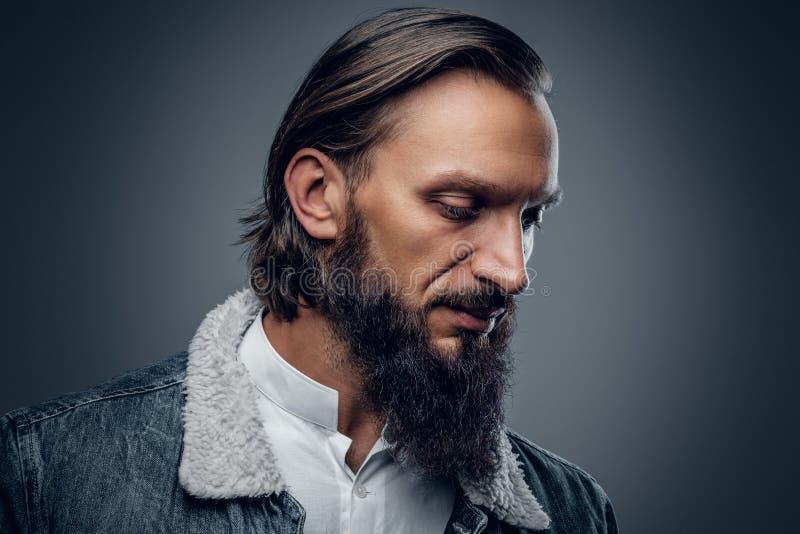 Varón barbudo con el pelo largo imagen de archivo