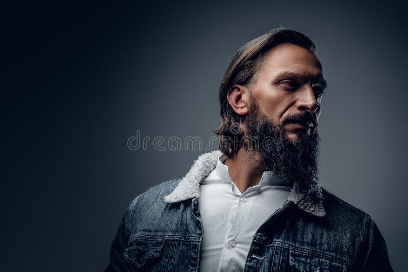 Varón barbudo con el pelo largo fotos de archivo