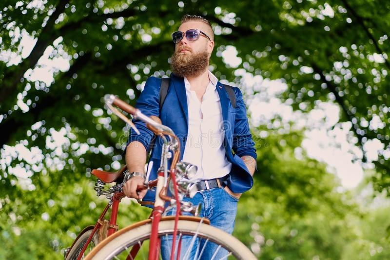 Varón barbudo del pelirrojo en una bicicleta retra en un parque fotografía de archivo