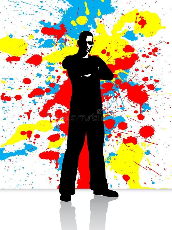 Varón de Grunge ilustración del vector