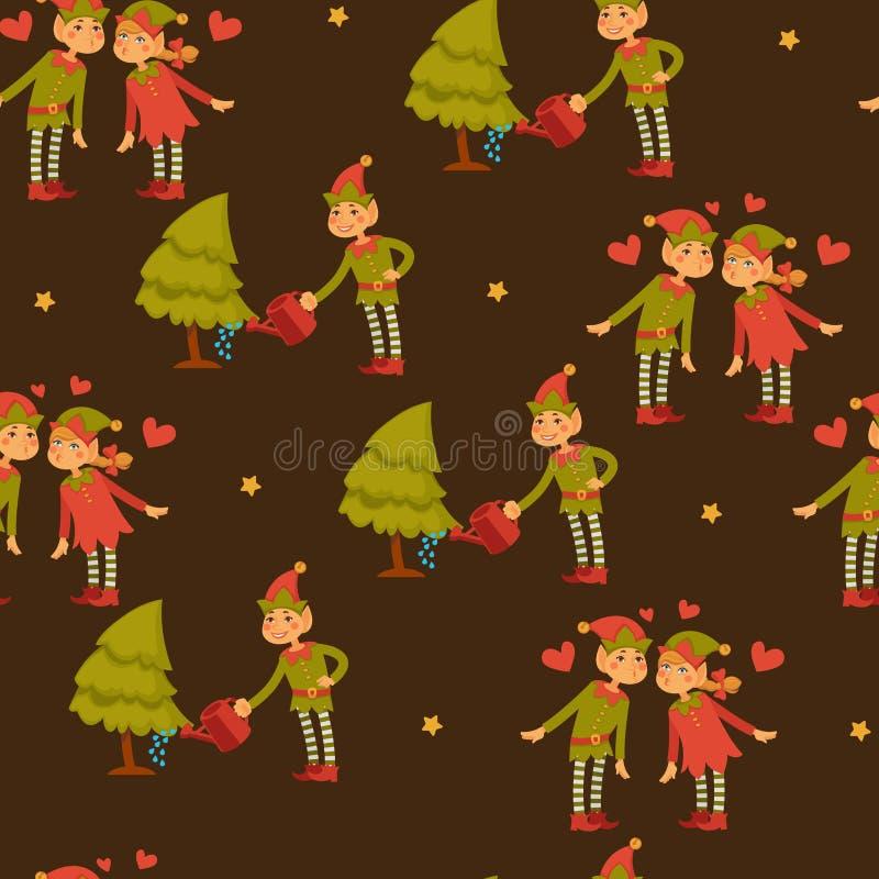 Varón del duende y niños femeninos en el amor, vector de los ayudantes de Santa Claus stock de ilustración