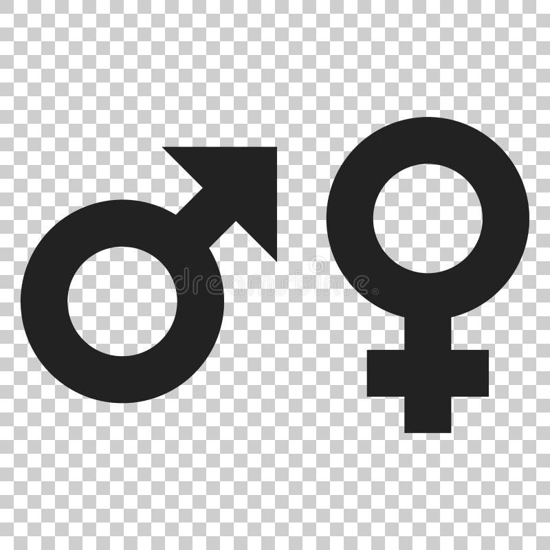 Varón del género e icono femenino del vector de la muestra Concepto i de los hombres y de las mujeres stock de ilustración