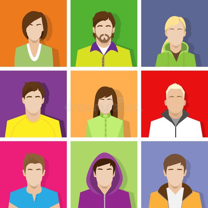Varón determinado del avatar del icono del perfil y retrato femenino ilustración del vector