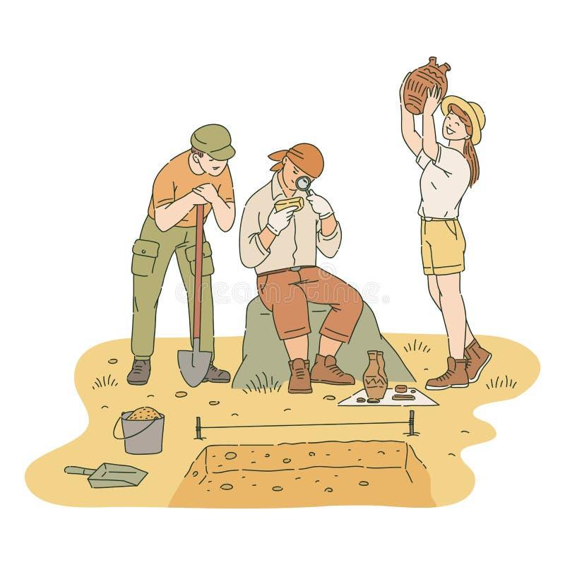 Varón feliz y arqueólogos de sexo femenino que investigan estilo encontrado del bosquejo de los artefactos ilustración del vector