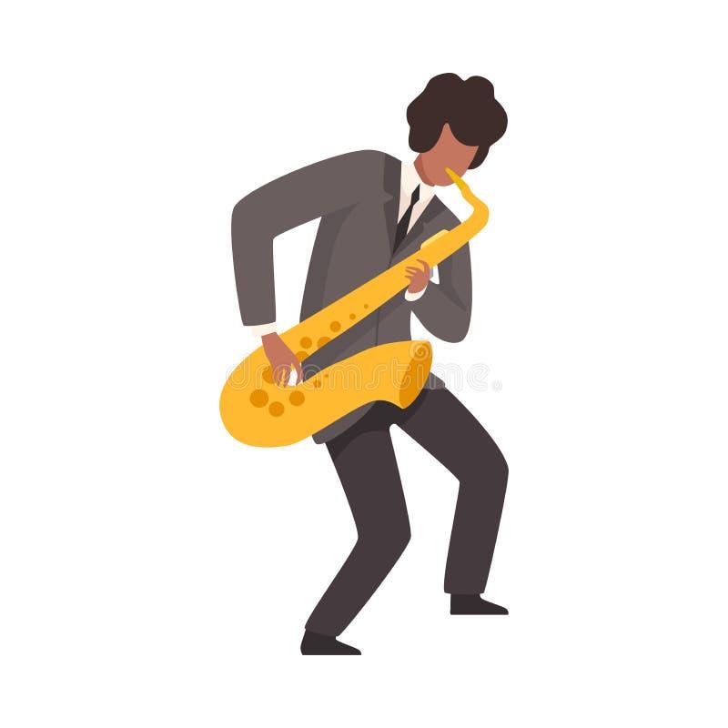 Varón Jazz Musician en el traje elegante que juega el ejemplo del vector del saxofón stock de ilustración