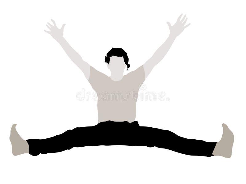 Varón joven con los brazos para arriba que estiran sus piernas ilustración del vector
