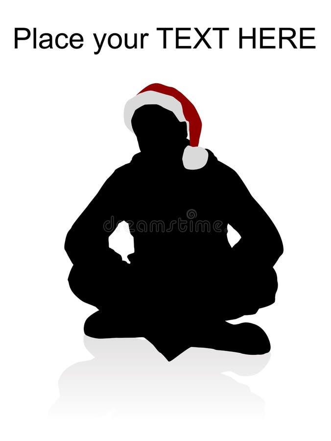 Varón joven que desgasta el sombrero rojo de la Navidad ilustración del vector