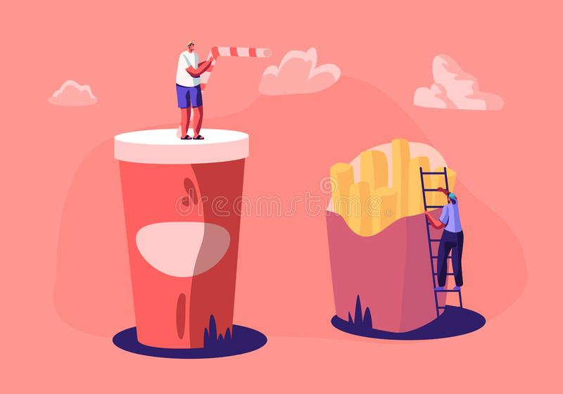 Varón minúsculo y caracteres femeninos que obran recíprocamente con las patatas fritas y la taza enormes con la bebida de la soda ilustración del vector