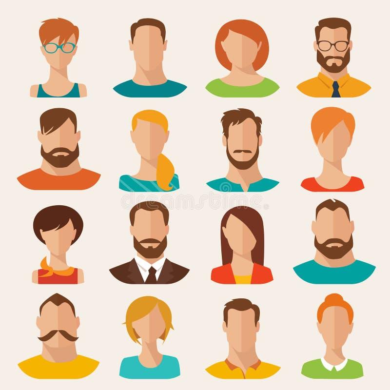Varón plano del estilo del vector y avatares de los caracteres femeninos Conjunto 2 ilustración del vector